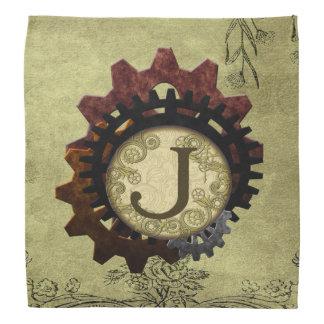 Grunge Steampunk Gears Monogram Letter J Bandana
