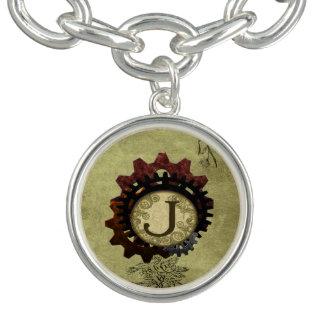 Grunge Steampunk Gears Monogram Letter J Bracelet