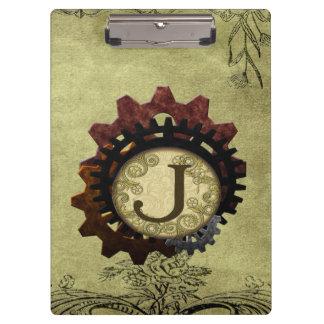 Grunge Steampunk Gears Monogram Letter J Clipboards