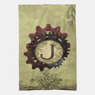 Grunge Steampunk Gears Monogram Letter J Kitchen Towels