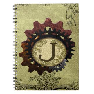Grunge Steampunk Gears Monogram Letter J Note Books