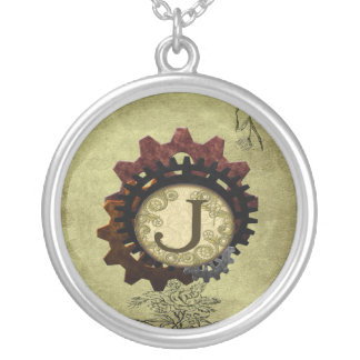 Grunge Steampunk Gears Monogram Letter J Silver Plated Necklace
