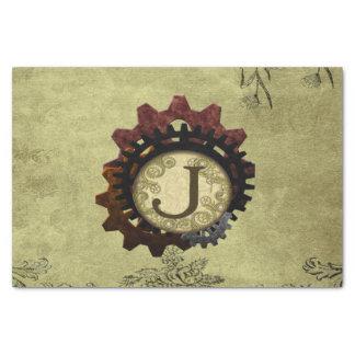 Grunge Steampunk Gears Monogram Letter J Tissue Paper