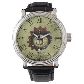 Grunge Steampunk Gears Monogram Letter J Wristwatches