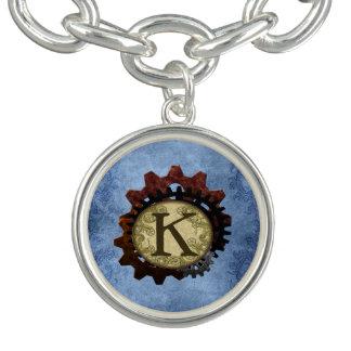 Grunge Steampunk Gears Monogram Letter K Bracelet