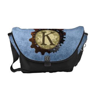 Grunge Steampunk Gears Monogram Letter K Commuter Bags