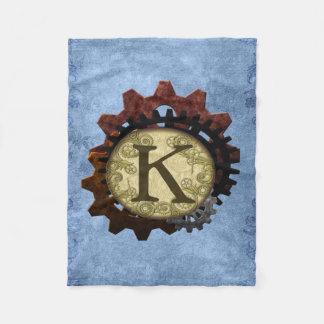 Grunge Steampunk Gears Monogram Letter K Fleece Blanket