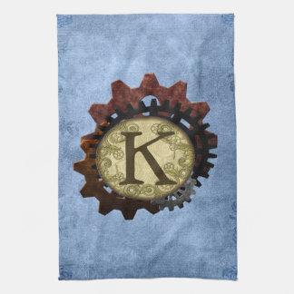 Grunge Steampunk Gears Monogram Letter K Hand Towels