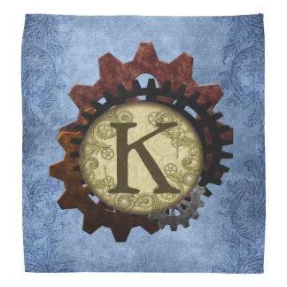 Grunge Steampunk Gears Monogram Letter K Kerchiefs