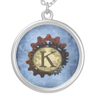 Grunge Steampunk Gears Monogram Letter K Silver Plated Necklace