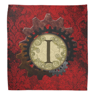 Grunge Steampunk Gears Monogram Letter Kerchief