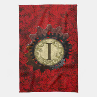 Grunge Steampunk Gears Monogram Letter Kitchen Towels
