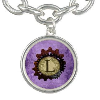 Grunge Steampunk Gears Monogram Letter L Bracelet