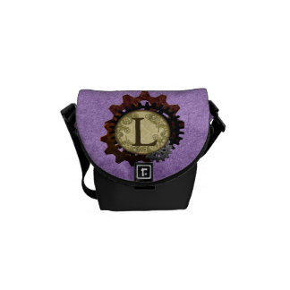 Grunge Steampunk Gears Monogram Letter L Courier Bags