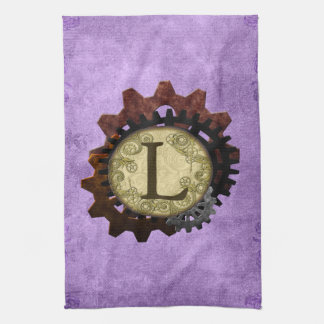 Grunge Steampunk Gears Monogram Letter L Kitchen Towel