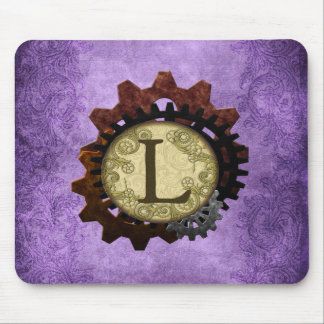 Grunge Steampunk Gears Monogram Letter L Mouse Pad