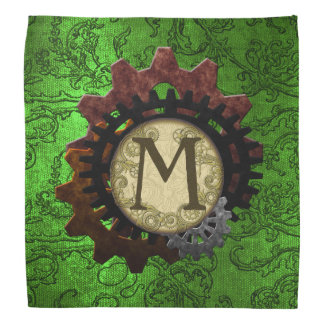 Grunge Steampunk Gears Monogram Letter M Bandana