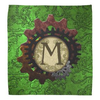 Grunge Steampunk Gears Monogram Letter M Bandannas