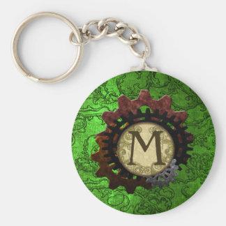 Grunge Steampunk Gears Monogram Letter M Basic Round Button Keychain