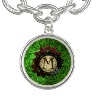 Grunge Steampunk Gears Monogram Letter M Bracelets