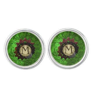 Grunge Steampunk Gears Monogram Letter M Cuff Links