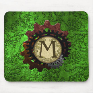 Grunge Steampunk Gears Monogram Letter M Mouse Pad