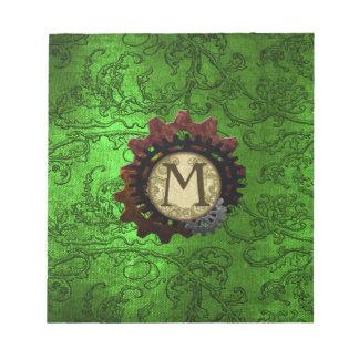 Grunge Steampunk Gears Monogram Letter M Notepad