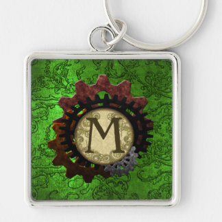 Grunge Steampunk Gears Monogram Letter M Silver-Colored Square Keychain