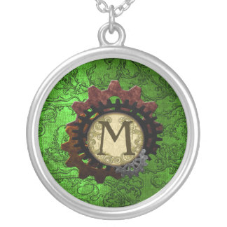 Grunge Steampunk Gears Monogram Letter M Silver Plated Necklace