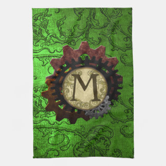 Grunge Steampunk Gears Monogram Letter M Towel