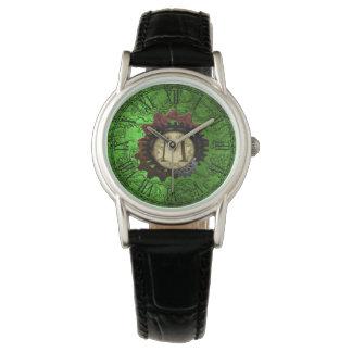 Grunge Steampunk Gears Monogram Letter M Wristwatches