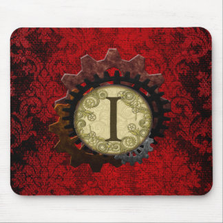 Grunge Steampunk Gears Monogram Letter Mouse Pad