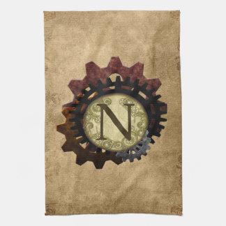 Grunge Steampunk Gears Monogram Letter N Hand Towel