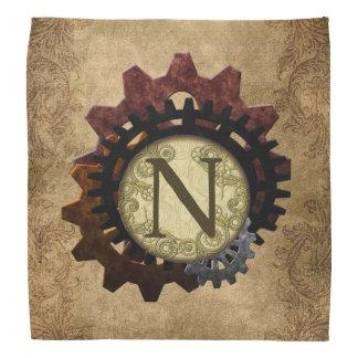 Grunge Steampunk Gears Monogram Letter N Kerchief