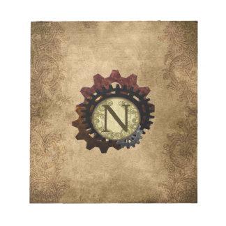 Grunge Steampunk Gears Monogram Letter N Notepad