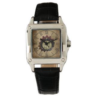 Grunge Steampunk Gears Monogram Letter N Wrist Watch