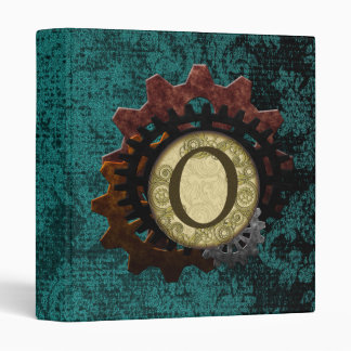 Grunge Steampunk Gears Monogram Letter O Binders