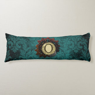 Grunge Steampunk Gears Monogram Letter O Body Pillow