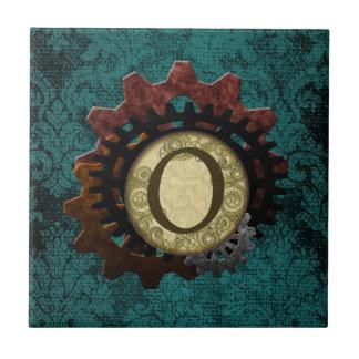 Grunge Steampunk Gears Monogram Letter O Ceramic Tiles