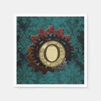 Grunge Steampunk Gears Monogram Letter O Disposable Napkin