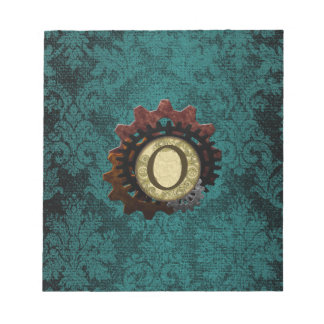 Grunge Steampunk Gears Monogram Letter O Notepads