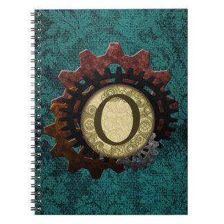 Grunge Steampunk Gears Monogram Letter O Spiral Note Book