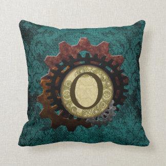 Grunge Steampunk Gears Monogram Letter O Throw Pillow