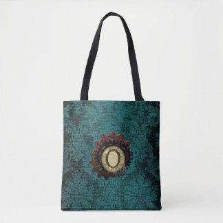 Grunge Steampunk Gears Monogram Letter O Tote Bag