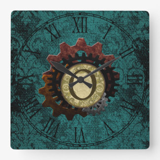Grunge Steampunk Gears Monogram Letter O Wall Clocks