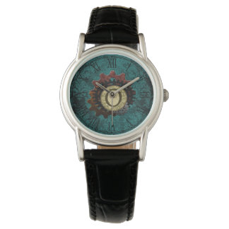Grunge Steampunk Gears Monogram Letter O Watch