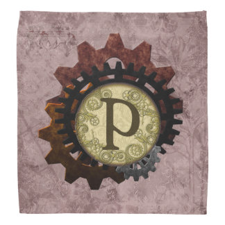 Grunge Steampunk Gears Monogram Letter P Bandana