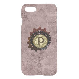 Grunge Steampunk Gears Monogram Letter P iPhone 7 Case