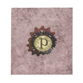 Grunge Steampunk Gears Monogram Letter P Notepads