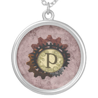 Grunge Steampunk Gears Monogram Letter P Silver Plated Necklace